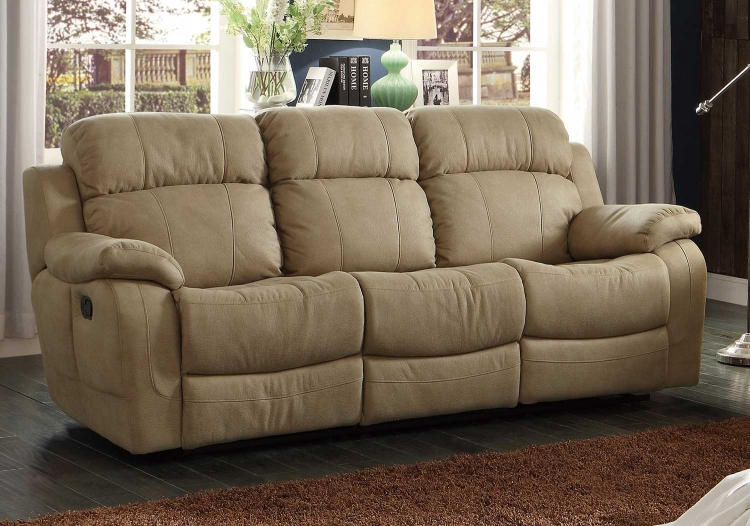 Marille Double Reclining Sofa with Center Drop-Down Cup Holders - Taupe