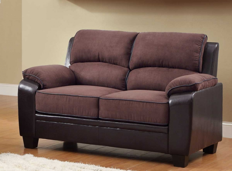 Ellie Love Seat - Dark Brown Microfiber and Bi-Cast