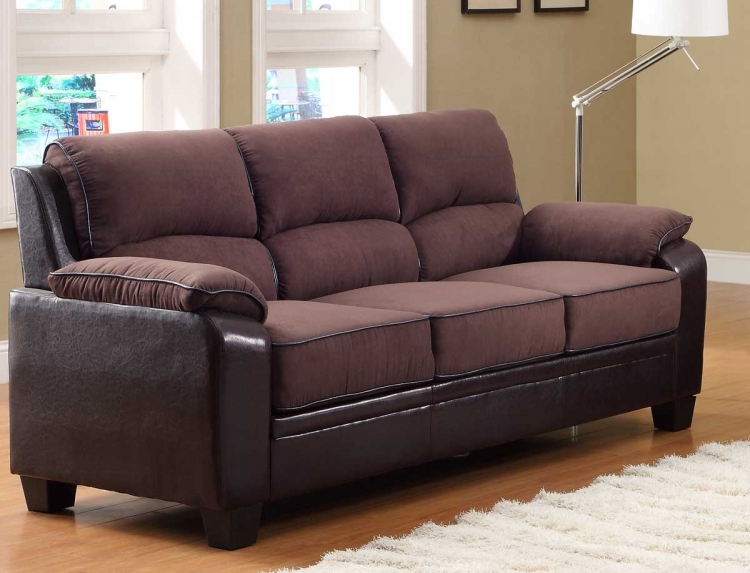 Ellie Sofa - Dark Brown Microfiber and Bi-Cast