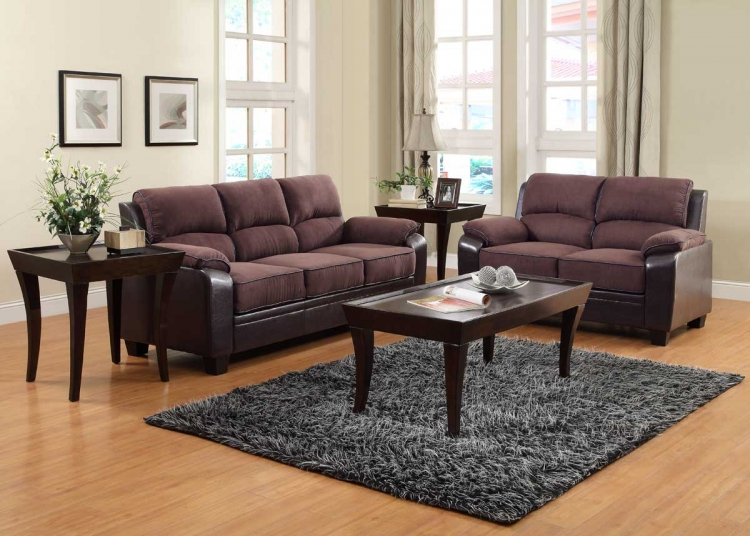 Ellie Sofa Set - Dark Brown Microfiber and Bi-Cast