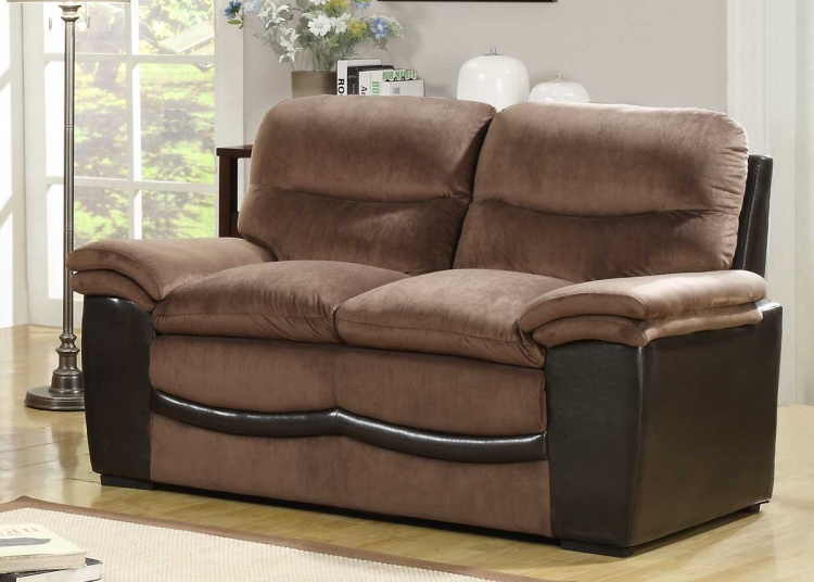 Bernard Love Seat - Dark Brown Velvet and Bi-Cast - Homelegance