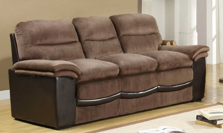 Bernard Sofa - Dark Brown Velvet and Bi-Cast - Homelegance