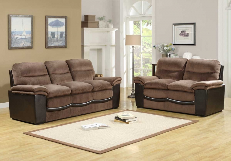 Bernard Sofa Set - Dark Brown Velvet and Bi-Cast - Homelegance