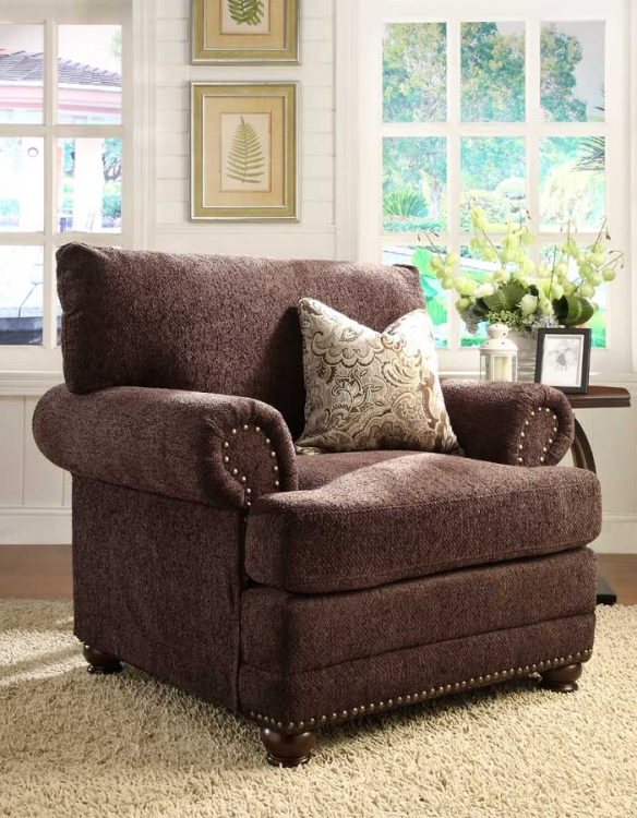 Elena Chair - Chocolate Chenille - Homelegance