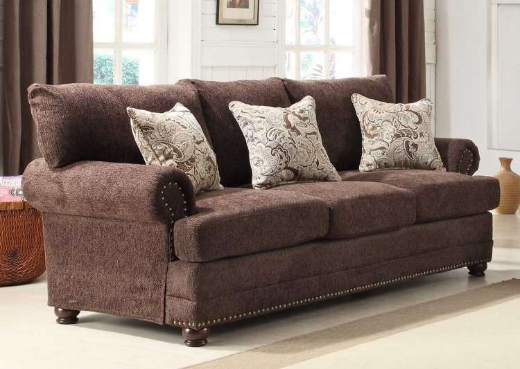 Elena Sofa - Chocolate Chenille - Homelegance