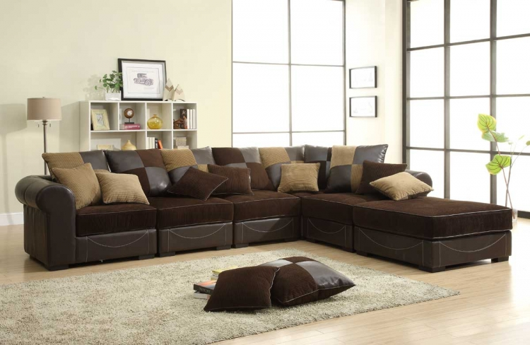 Lamont Modular Sectional Sofa Set B - Chocolate Corduroy and Dark Brown Bi-Cast