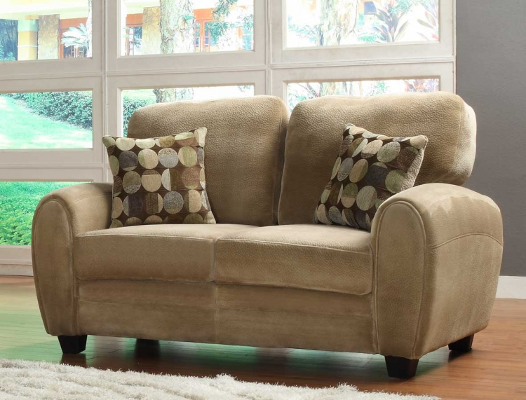 Rubin Love Seat - Brown Textured Microfiber - Homelegance