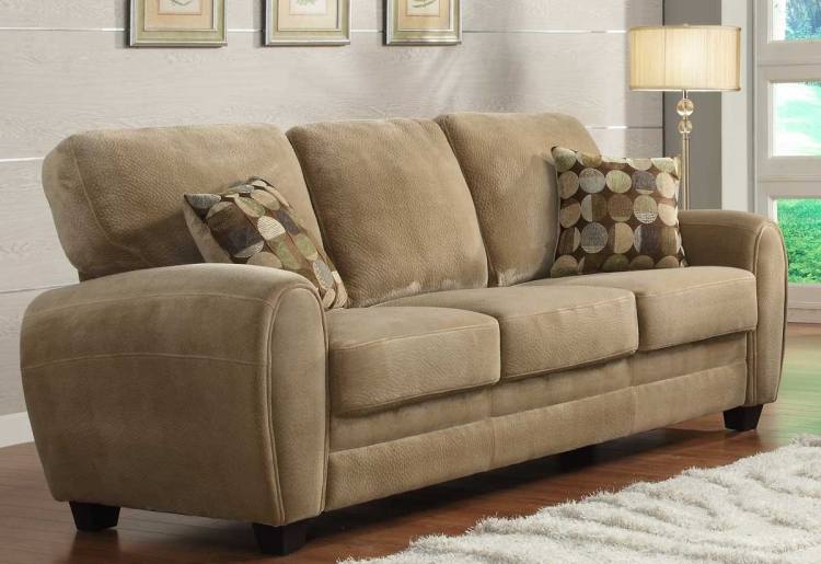 Rubin Sofa - Brown Textured Microfiber - Homelegance