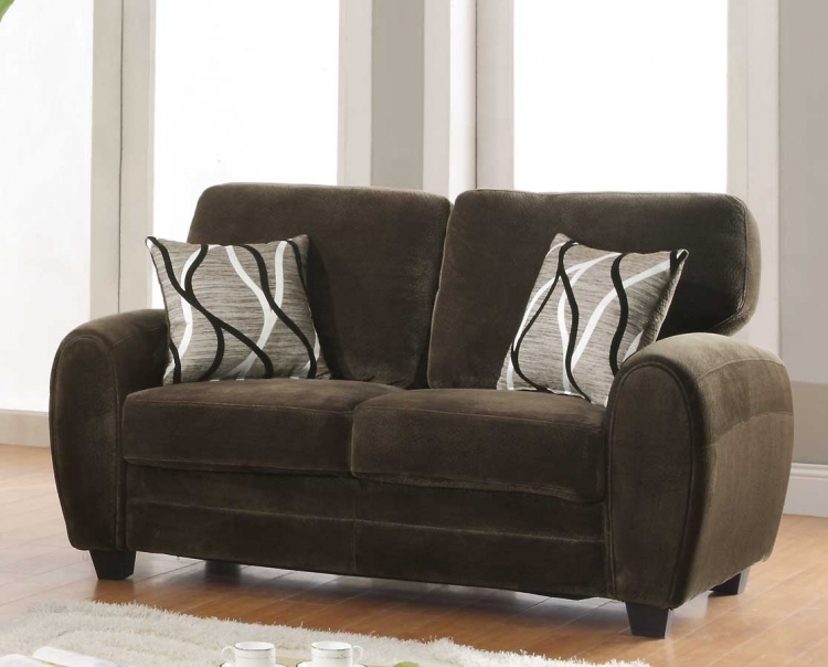 Rubin Love Seat - Chocolate Textured Microfiber - Homelegance