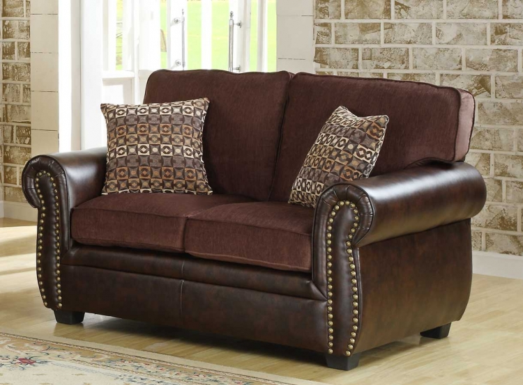 Beckstead Love Seat - Chocolate Chenille and Dark Brown PU - Homelegance