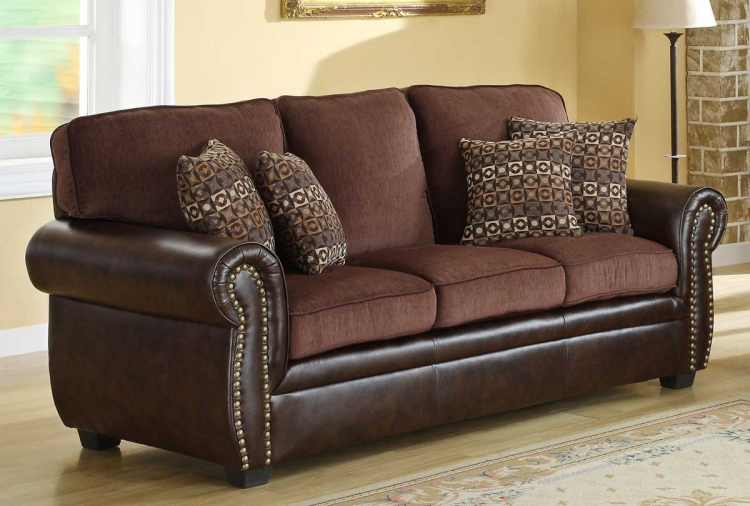 Beckstead Sofa - Chocolate Chenille and Dark Brown PU - Homelegance