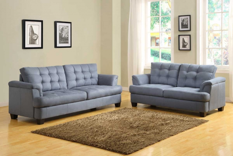 St. Charles Sofa Set - Blue Gray - Homelegance