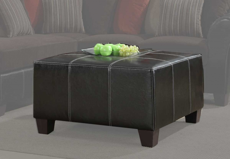 Besty Cocktail Ottoman - Chocolate Corduroy and Dark Brown Bi-Cast - Homelegance