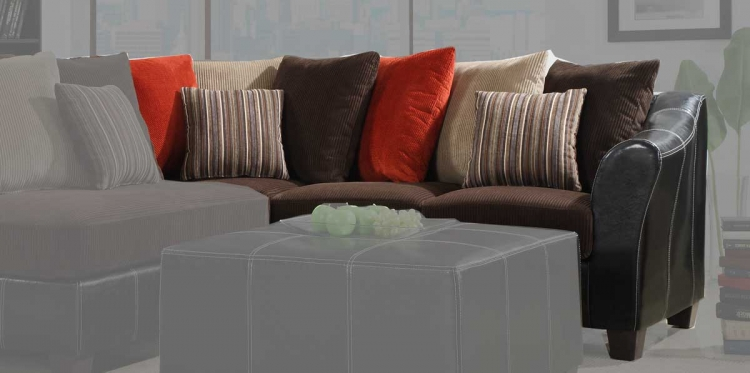 Besty Sofa - Chocolate Corduroy and Dark Brown Bi-Cast - Homelegance