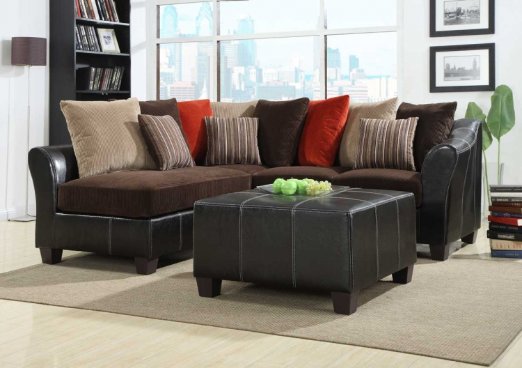 Besty Modular Sectional Sofa Set - Chocolate Corduroy and Dark Brown Bi-Cast - Homelegance