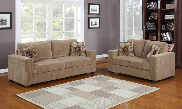 Paramus Sofa Set - Brown Corduroy - Homelegance