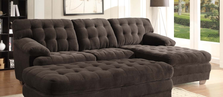 Brooks Sectional Sofa - Chocolate - Champion Microfiber - Homelegance