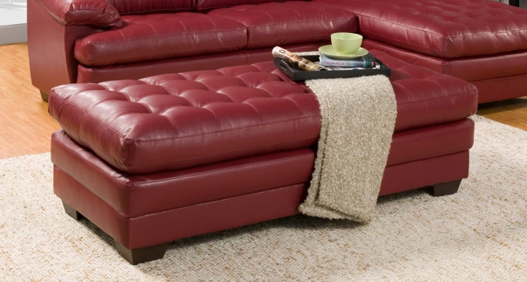 Brooks Ottoman - Red - Bonded Leather