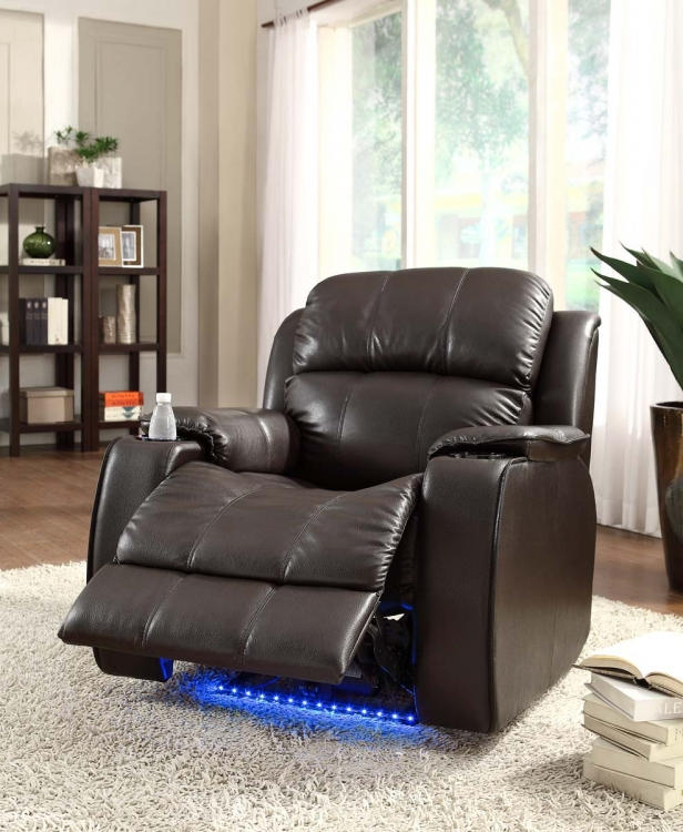 Jimmy Power Recliner with Massage - Brown - All Bonded Leather