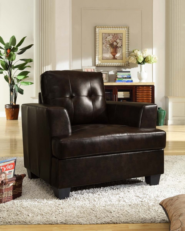 Keaton Chair - Dark Brown - Bonded Leather Match