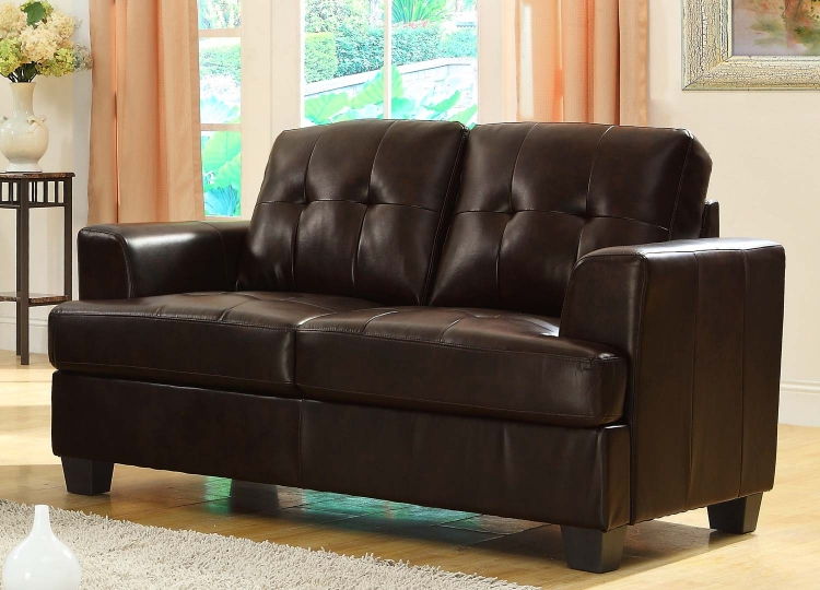 Keaton Love Seat - Dark Brown - Bonded Leather Match - Homelegance