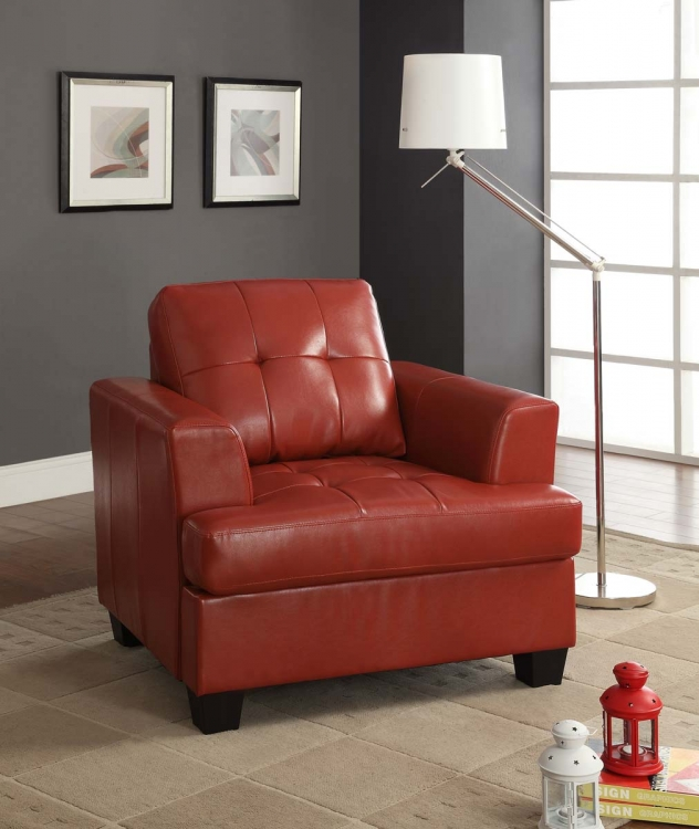 Keaton Chair - Red - Bonded Leather Match - Homelegance