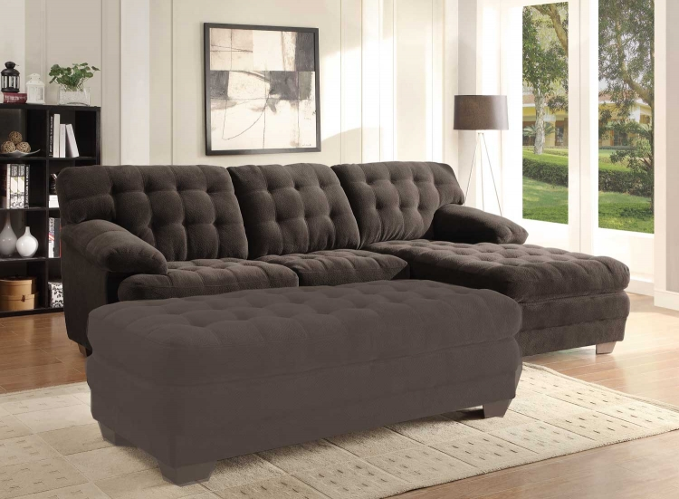 Minnis Sectional Sofa - Chocolate - Homelegance