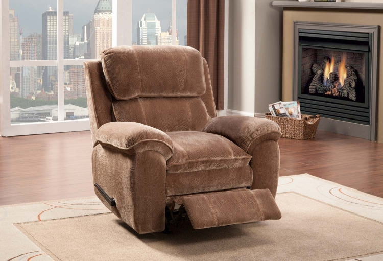 Reilly Chair Glider Recliner - Brown - Textured Plush Microfiber� - Homelegance