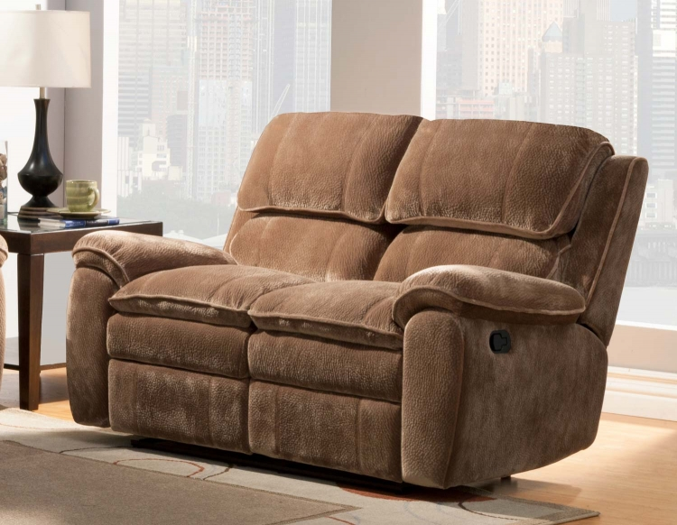 Reilly Love Seat Double Recliner - Brown - Textured Plush Microfiber