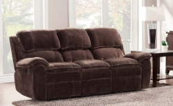 Reilly Sofa Double Recliner - Brown - Textured Plush Microfiber� - Homelegance