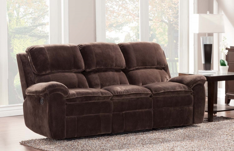 Reilly Sofa Double Recliner - Chocolate - Textured Plush Microfiber� - Homelegance