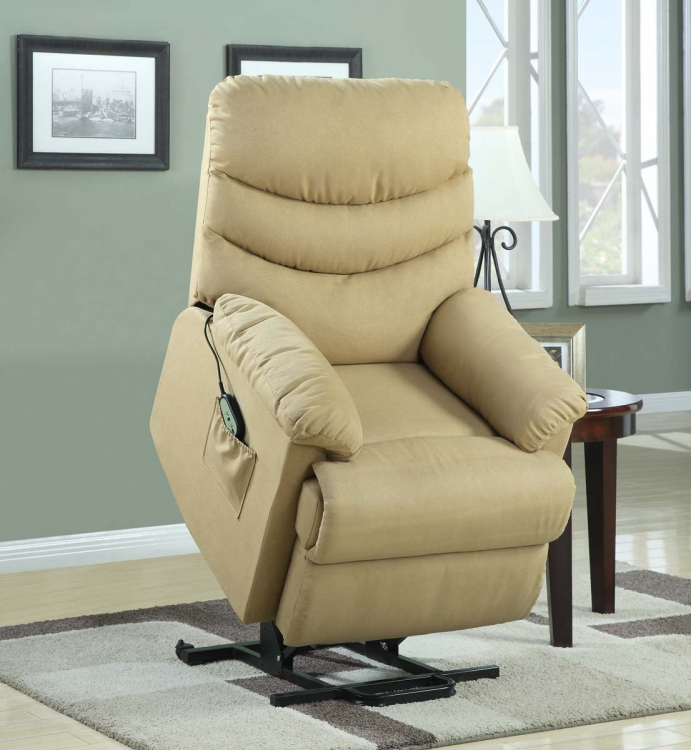 Elevated Power Lift Chair - Beige - Microfiber