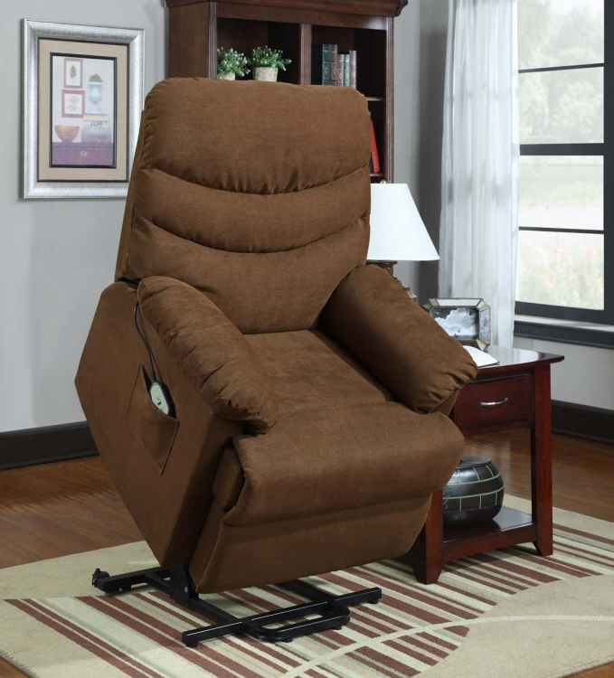 Elevated Power Lift Chair - Dark Brown - Microfiber