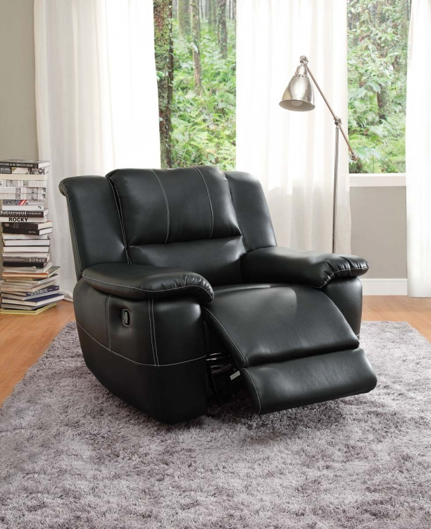Cantrell Chair Glider Recliner - Black - Bonded Leather Match
