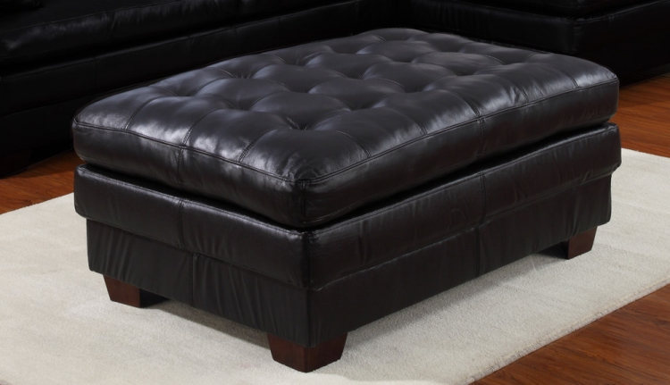 9817 All Leather Ottoman - Black - Homelegance