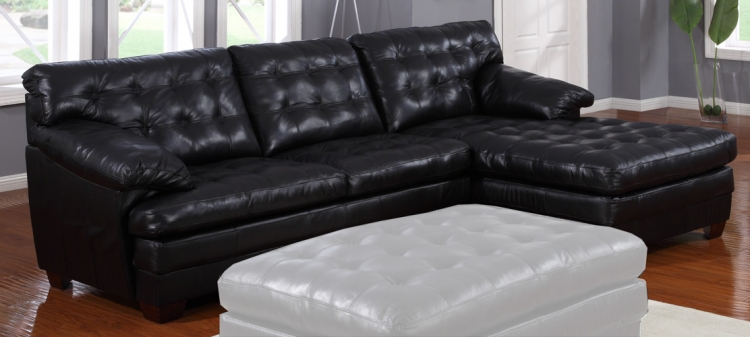 9817 All Leather Sectional Sofa - Black - Homelegance