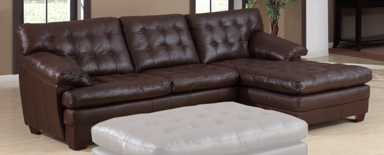 9817 All Leather Sectional Sofa - Brown - Homelegance