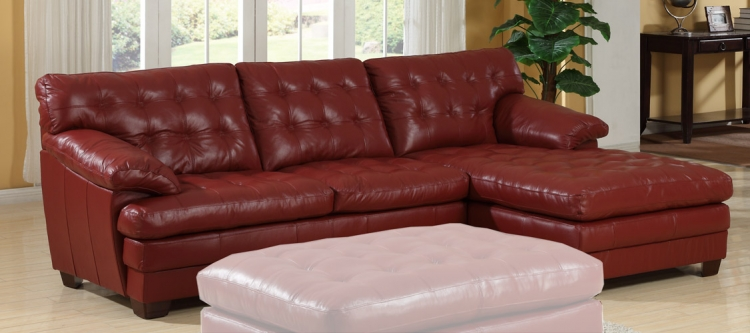 9817 All Leather Sectional Sofa - Red - Homelegance