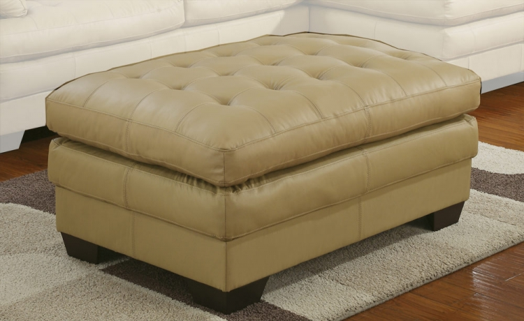 9817 All Leather Ottoman - Taupe - Homelegance