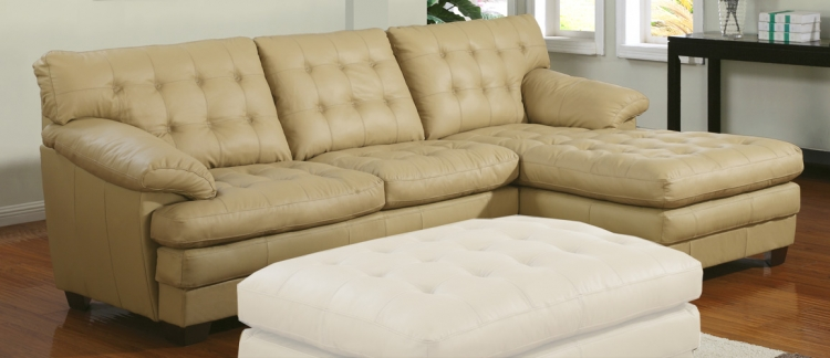 9817 All Leather Sectional Sofa - Taupe - Homelegance