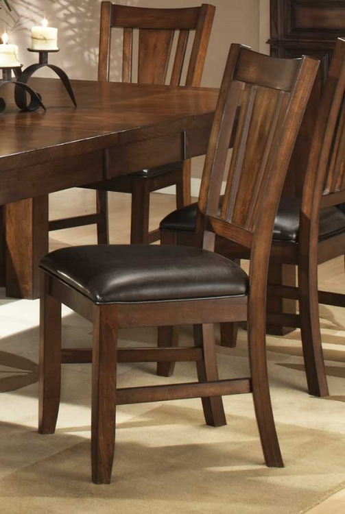 Fusion Side Chair- Bi-Cast Vinyl Seat-Dark Oak-Homelegance
