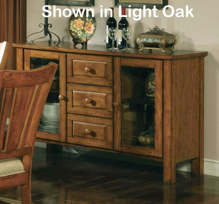 Fusion Server with Glass Doors-Dark Oak-Homelegance