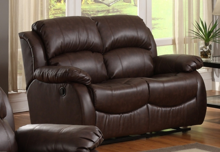 McGraw Motion Reclining Love Seat in Bonded Leather - Homelegance