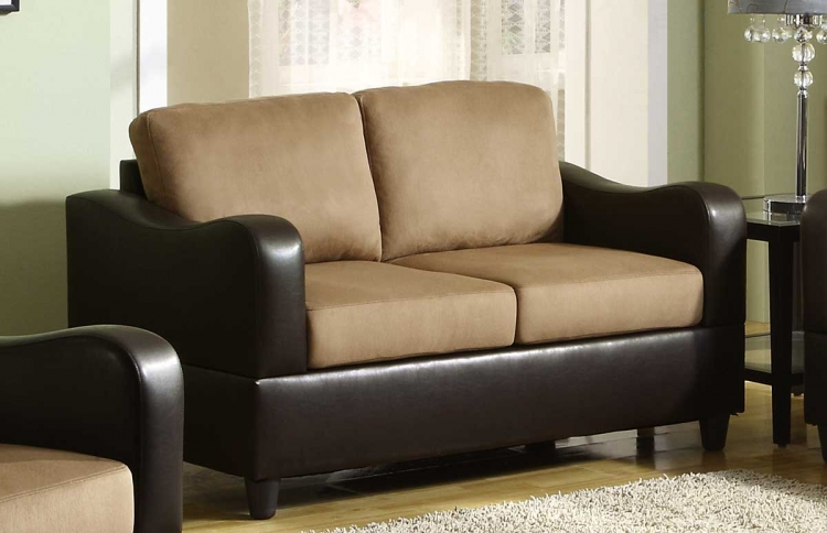 Anthony Love Seat - Brown Microfiber and Bi-Cast