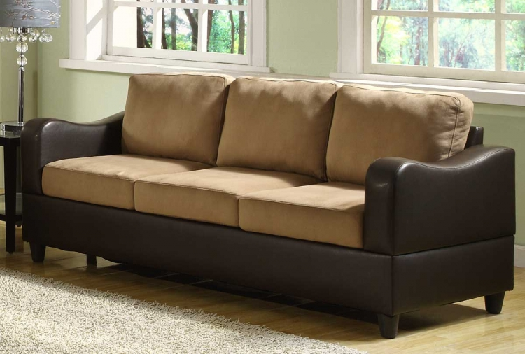 Anthony Sofa - Brown Microfiber and Bi-Cast