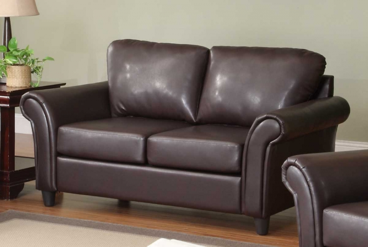 Levan Love Seat - Dark Brown Bi-Cast - Homelegance