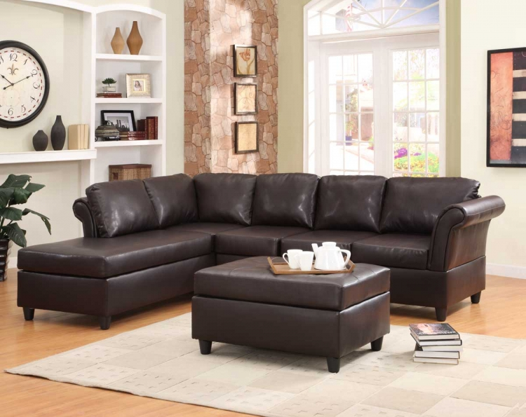 Levan Sectional Sofa Set - Dark Brown Bi-Cast - Homelegance