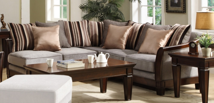 Trenton Sectional Sofa - Velvet - Homelegance