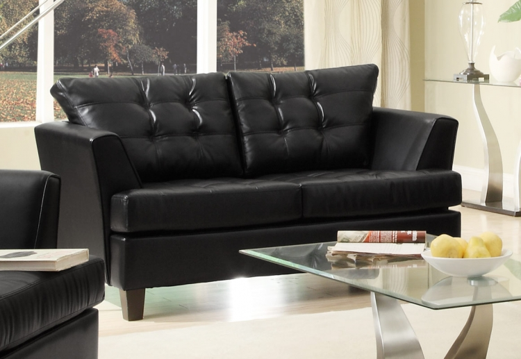 Della All Bonded Leather Love Seat - Black - Homelegance