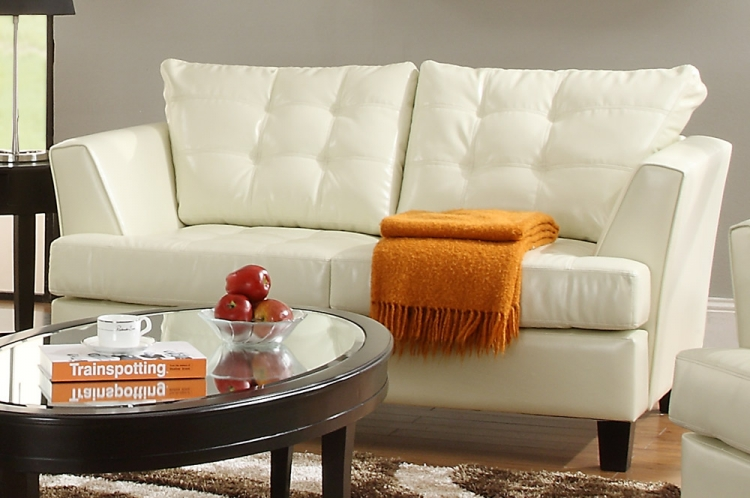 Della All Bonded Leather Love Seat - White - Homelegance